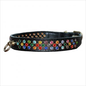 Waterfall Diamante Dog Collars – Black