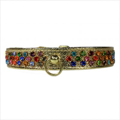 Waterfall Diamante Dog Collars – Gold