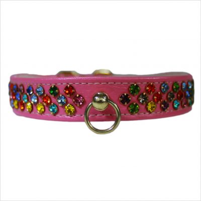 Waterfall Diamante Dog Collars – Pink