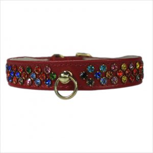 Waterfall Diamante Dog Collars – Red