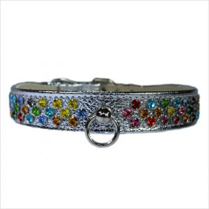Waterfall Diamante Dog Collars – Silver
