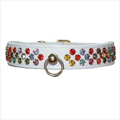 Waterfall Diamante Dog Collars – White