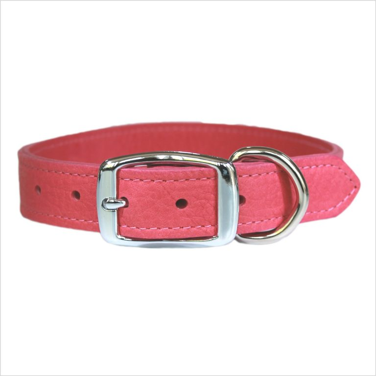 LUXE Leather Dog Collars – Flamingo Pink