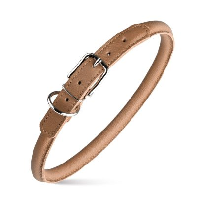 Rolled Leather Collars – Light Brown