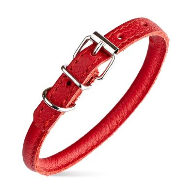 Rolled Leather Collars – Red