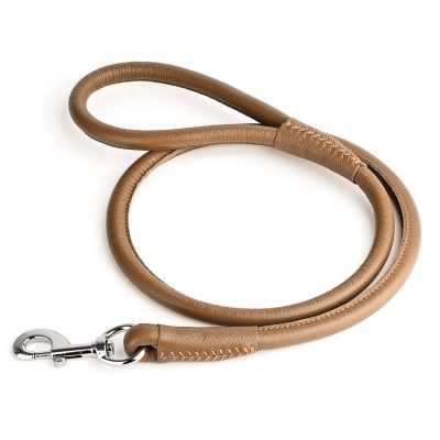 Rolled Leather Lead – Light Brown