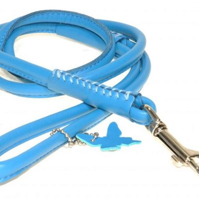 Rolled Leather Lead – Turquoise Blue