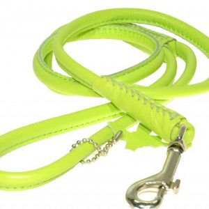 Rolled Leather Lead – Lime Green