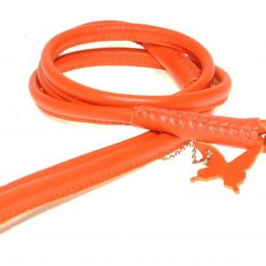 Rolled Leather Lead – Orange