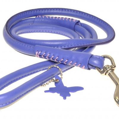 Rolled Leather Lead – Purple