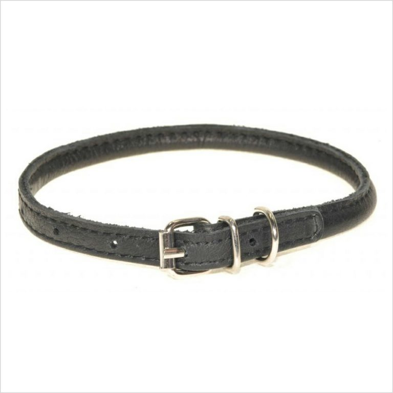 Rolled Leather Collars – Black