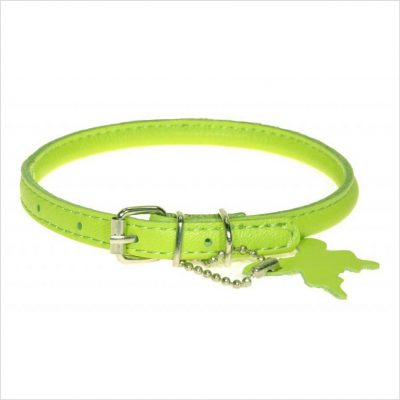 Rolled Leather Collars – Lime Green