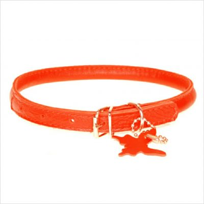 Rolled Leather Collars – Tomato Red