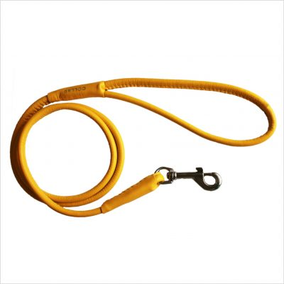 Rolled Leather Lead – Yellow