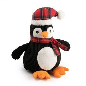 Christmas Corduroy Tartan Penguin Dog Toy. 12″ / 30 cm