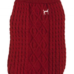 Cable Knit Red Dog Jumper