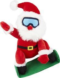 Christmas Snowboardin' Santa Dog Toy