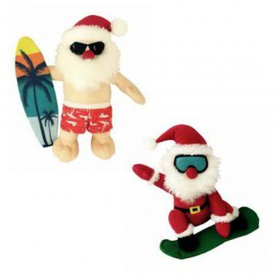 Christmas Surfin' & Snowboardin' Santa Dog Toys Twin Pack